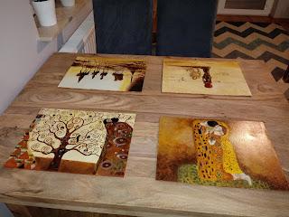 Recznie malowane podklaski pod talerz drewno malarstwo wzory na zamwoienie