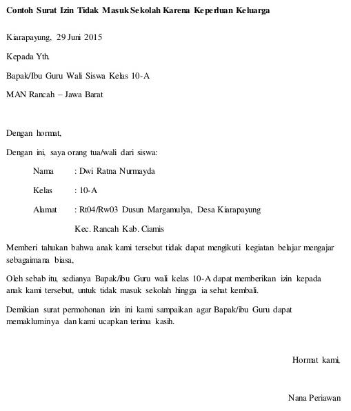 Contoh Surat Keterangan Sakit Smp