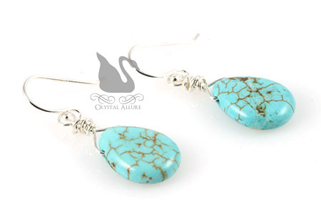 December Birthstone: Howlite Turquoise Gemstone Earrings EBG111