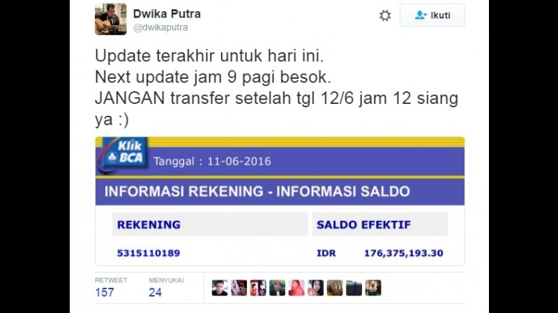 Dwika Putra mengumumkan jumlah donasi untuk pedagang warteg yang dirazia di Serang