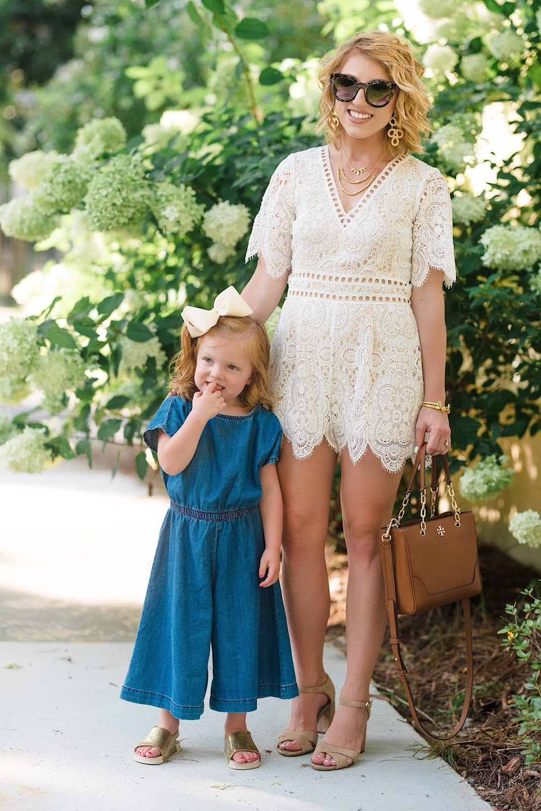 Nordstrom Anniversary Sale Mommy and Me Looks: Lace Romper and Denim Jumpsuit - Something Delightful