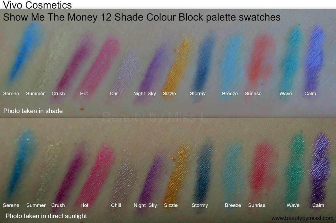 Vivo Cosmetics Show Me The Money 12 Shade Colour Block eyeshadow palette swatches