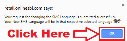how to change sbi sms alert language to hindi