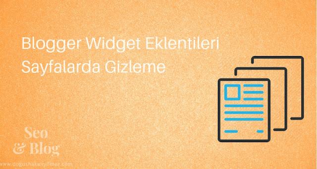 Blogger Widget Eklentileri Sayfalarda Gizleme