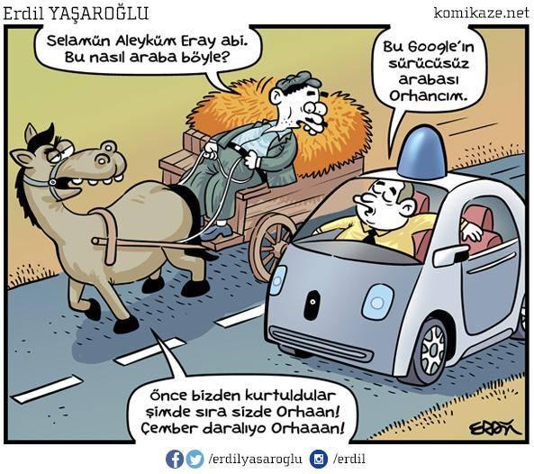 sürücüsüz araba karikatür