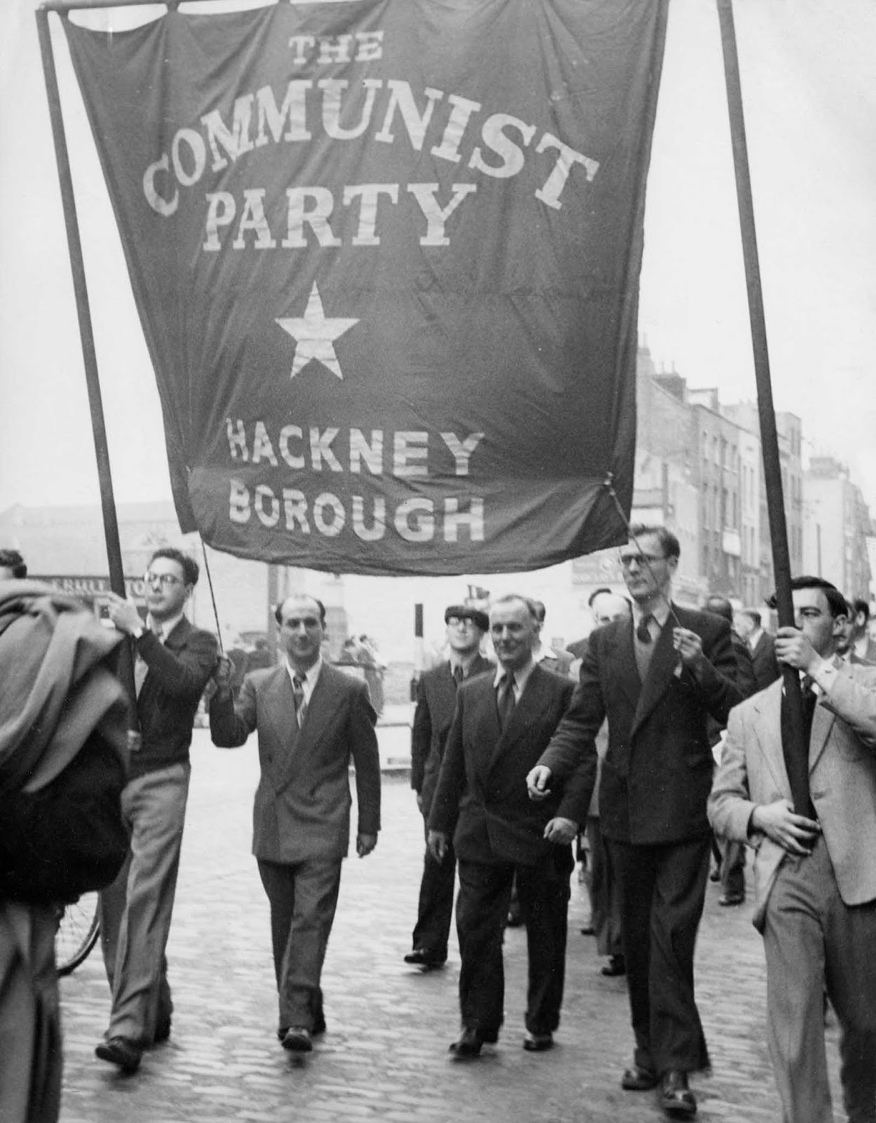 Members of the Hackney branch of the Communist Party of Great Britain take part in a march. 1952.