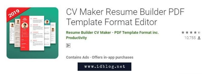 CV Maker Resume Builder PDF Template Format Editor