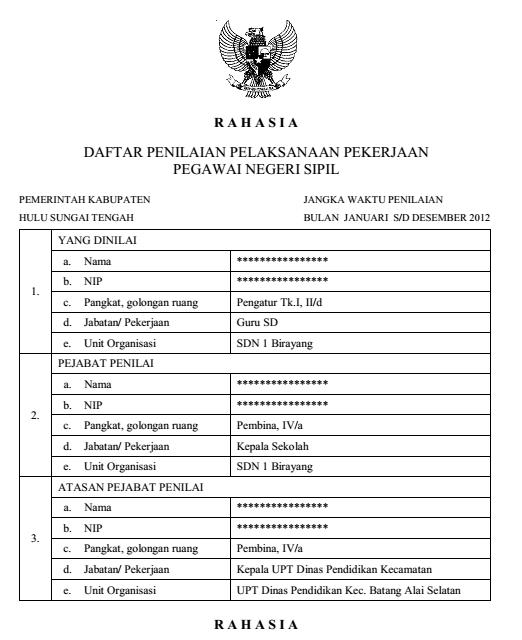 Penerimaan Pegawai Negri 2013 Info Pengumuman Pendaftaran Soal Cat Honorer K2 Cpns Contoh Daftar Penilaian Pelaksanaan Pekerjaan Pegawai Negeri Sipil