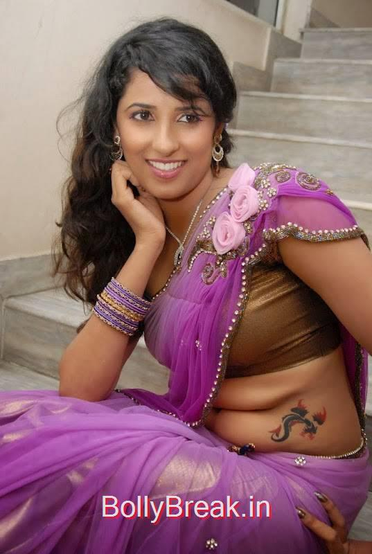 Tollywood Actress Sravya Reddy, Sravya Reddy Hot HD Images In Violet Saree