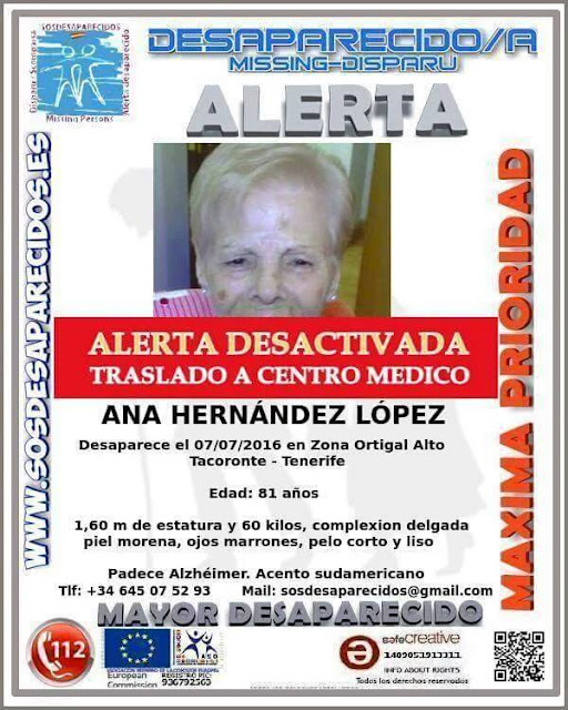Encontrada mujer desaparecida en Tacoronte tenerife