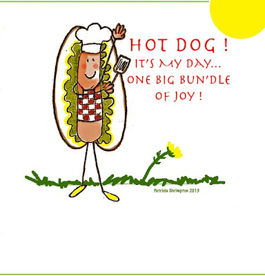 National HotDog Day Cartoon in Picnic Apron with Bun and Utensil