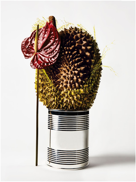 Anthurium, durian, with a Tiffany & Co. sterling-silver coffee can