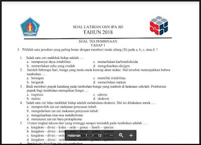 Soal Latihan OSN IPA SD Tahun 2018, http://www.librarypendidikan.com/