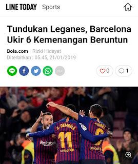 Tundukan Leganes, Barcelona Ukir 6 Kemenangan Beruntun