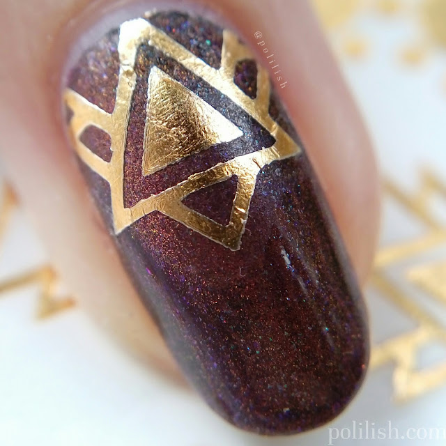 Geometric gold foil nails using temporary tattoos, by polilish