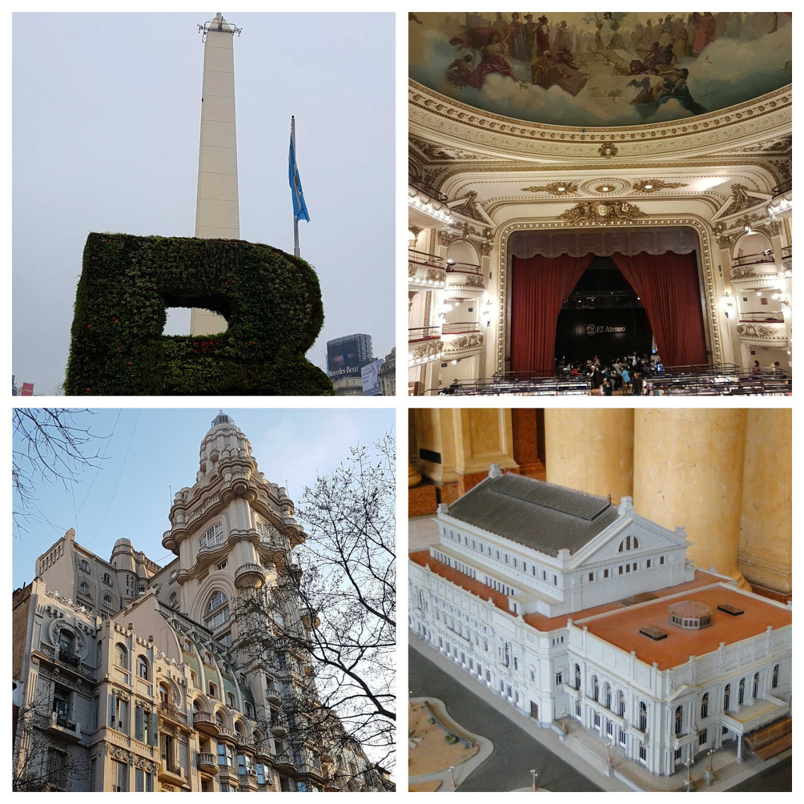 Obelisco da 9 de Julho, Livraria El Ateneo, Palácio Barollo e Teatro Colón em Buenos Aires.