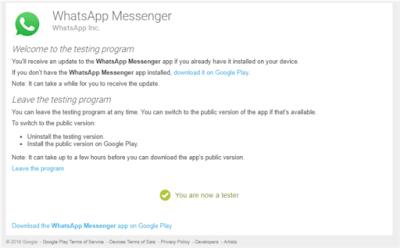 whatsapp testing program