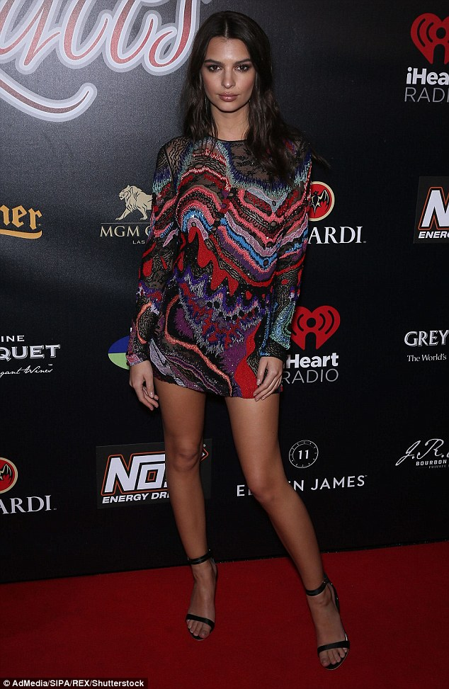 Emily Ratajkowski puts on a leggy display at the Leather and Laces bash in Houston