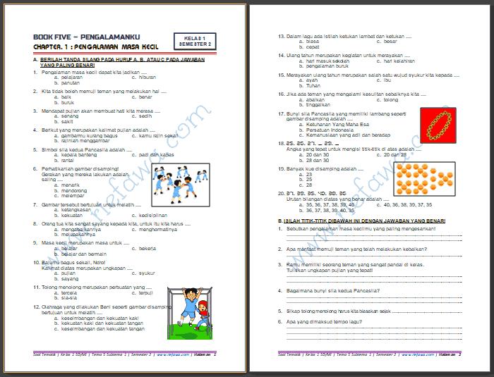 Contoh Soal Tematik Kelas 1 Tema 5 Subtema 1 Dan 2 Guru Ilmu Sosial