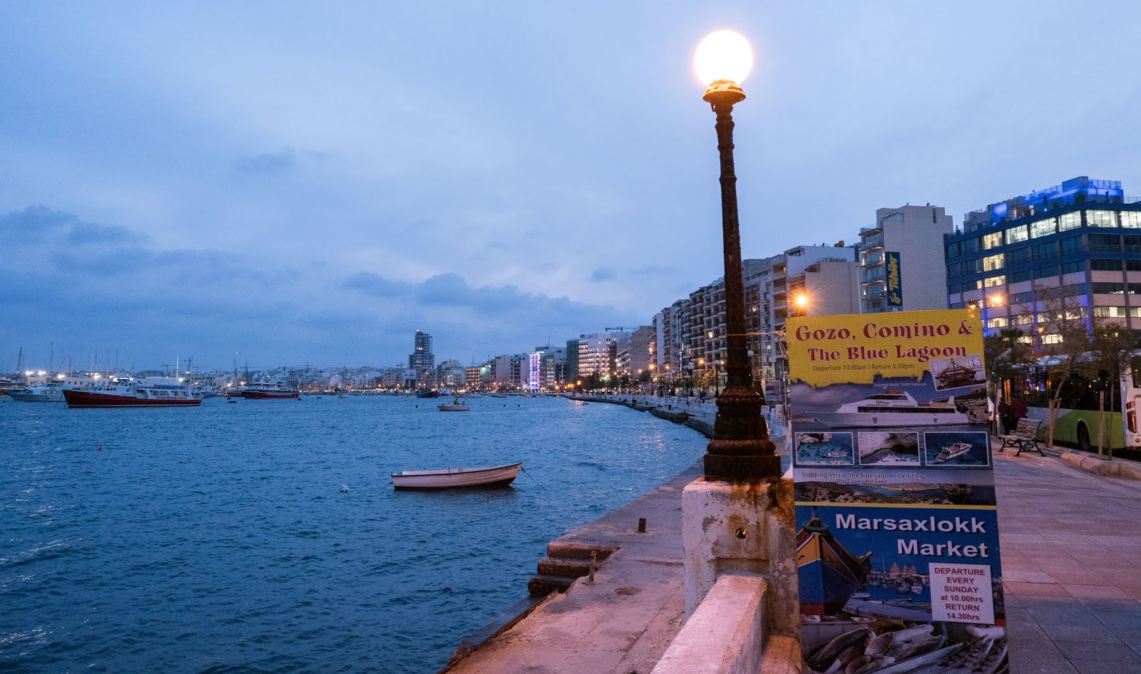 Sliema Harbour at night, Malta