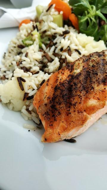 obiad | łosoś | ryż | sałatka