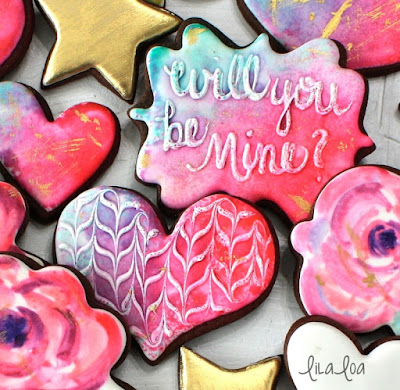 Decorate Valentine's Day sugar cookies -- watercolor heart and rose cookies