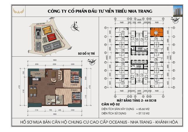 Sơ đồ căn hộ số 02 tòa OC1B Viễn Triều Nha Trang