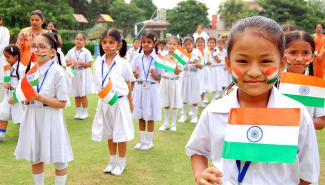 School Children Celebrating 71st Independence day