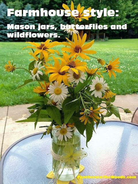 mason vase butterflies