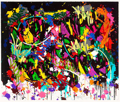 """Discharges: JonOne – """"The Fall"""" Lithograph"""