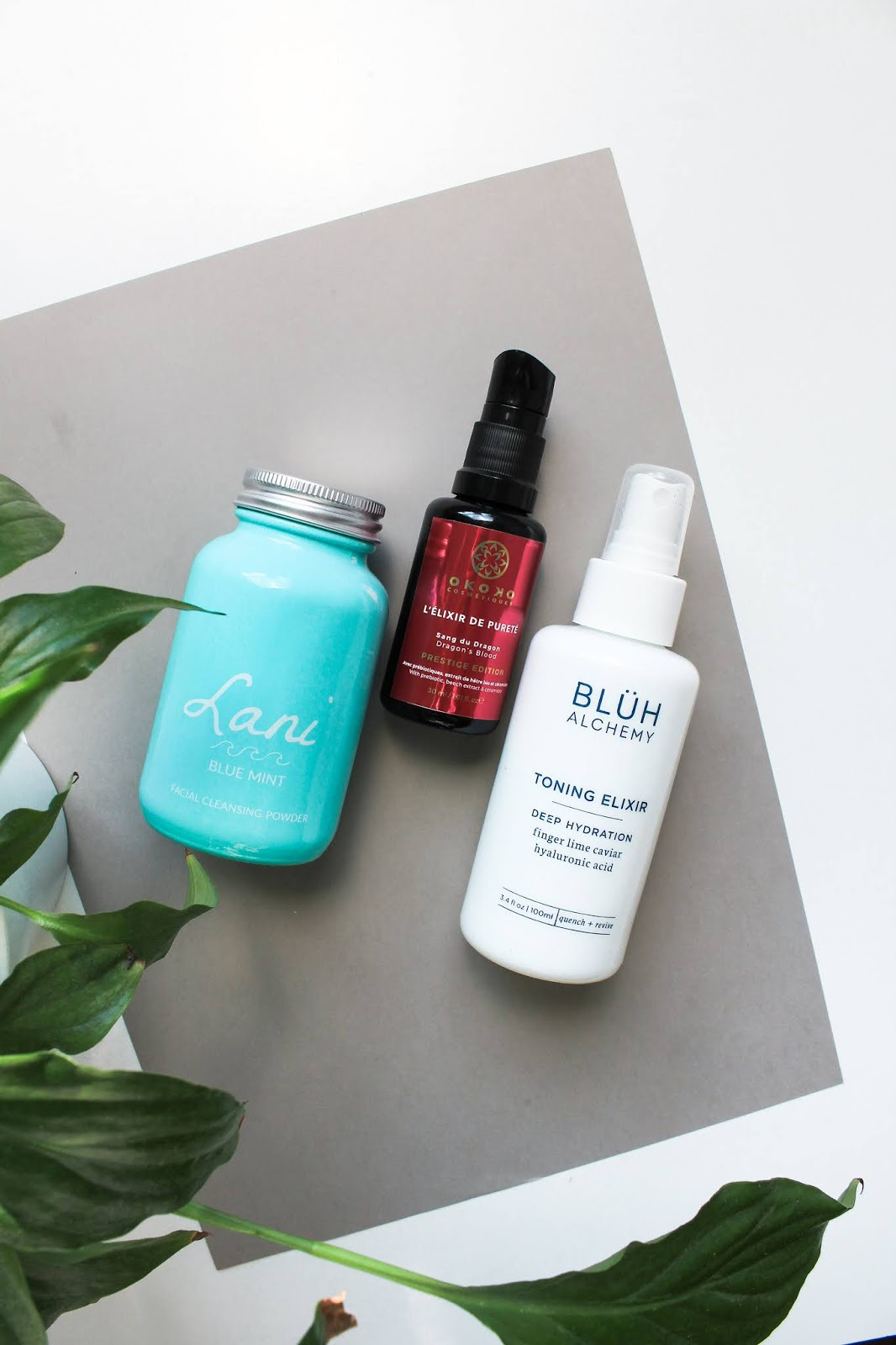Lani Blue Mint Facial Cleansing Powder, Okoko Cosmetiques Dragon's Blood Serum, Bluh Alchemy Toning Elixir
