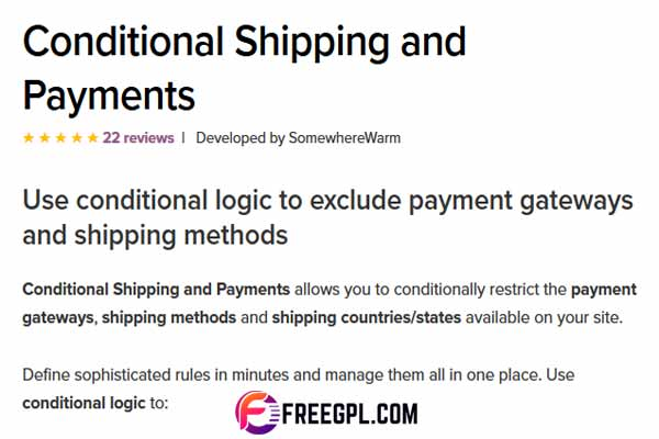WooCommerce Conditional Shipping & Payments Free Download