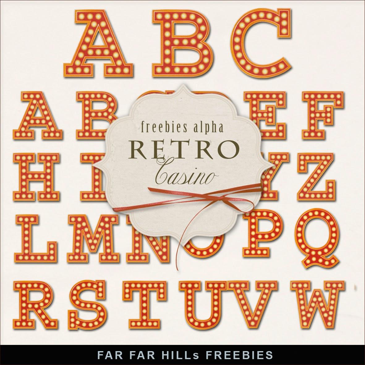Alfabeto hecho de bulbos luminosos, tipo casino y bingo