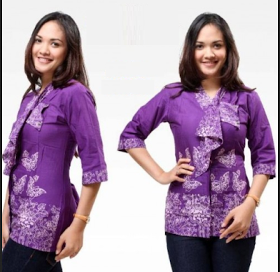 blouse batik kombinasi polos yang trendy