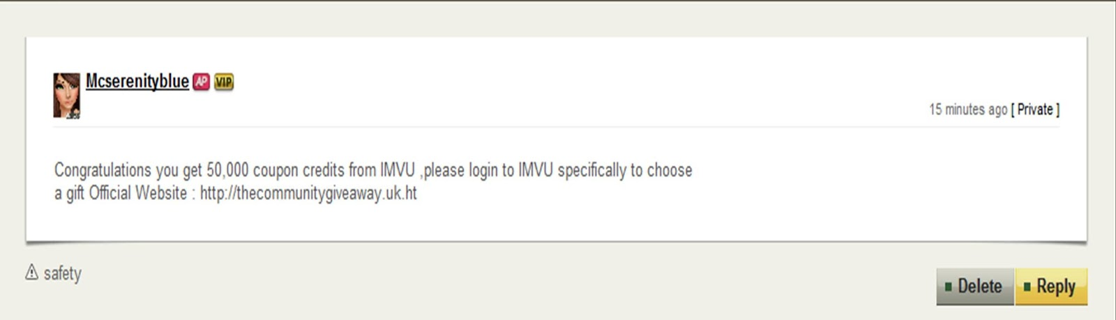 IMVU SCAM WARNING - PLEASE TAKE NOTE OF THE FOLLOWING NEW