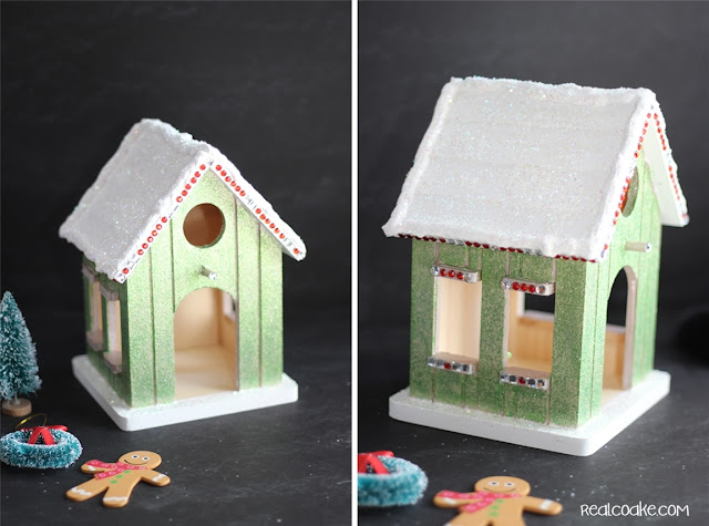 A DIY Christmas Craft to make a cute wood Gingerbread House from realcoake.com