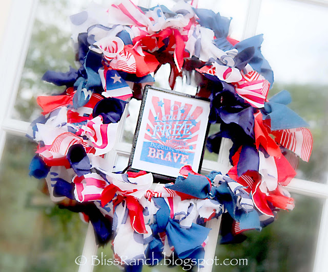 Pool Noodle Patriotic Door Wreath Made From Hankies, Bliss-Ranch.com