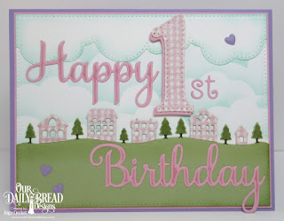 Our Daily Bread Designs Custom Dies: Neighborhood Border, Cloud Border, Happy Birthday, Large Numbers, Alphabet, Clouds and Raindrops, Paper Collection:  Shabby Rose