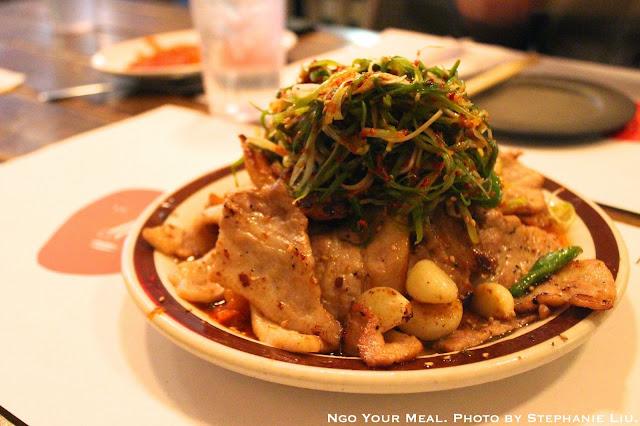 Spicy Pork Belly & Stir Fried Kimchi with Scallion Salad at Take31