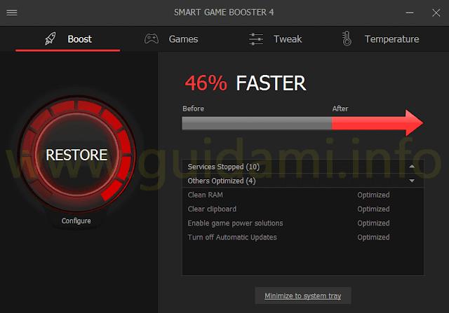 Smart Game Booster scheda BOOST risultato ottimizzazione