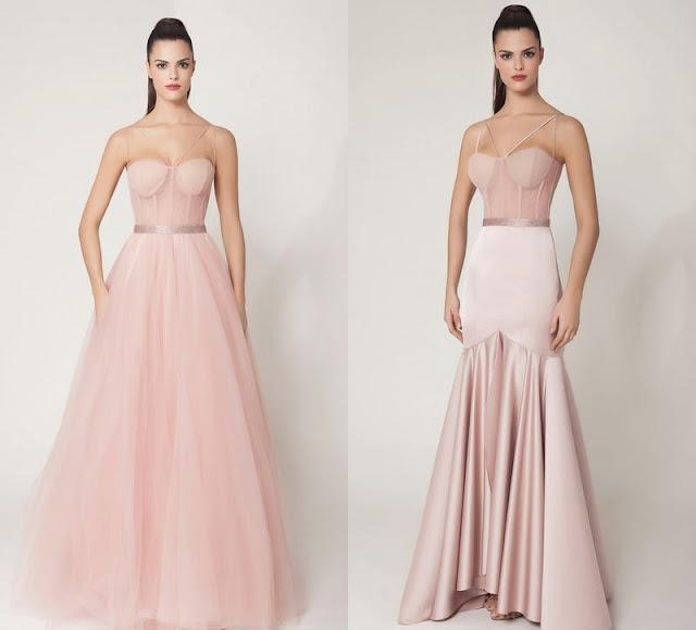 vestido de festa corsete ou corpete rosa claro
