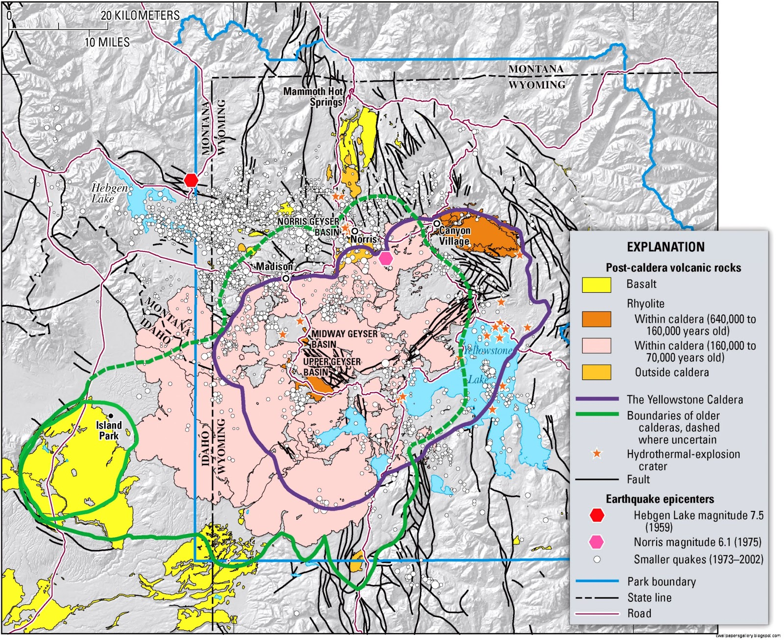 Yellowstone Caldera Map