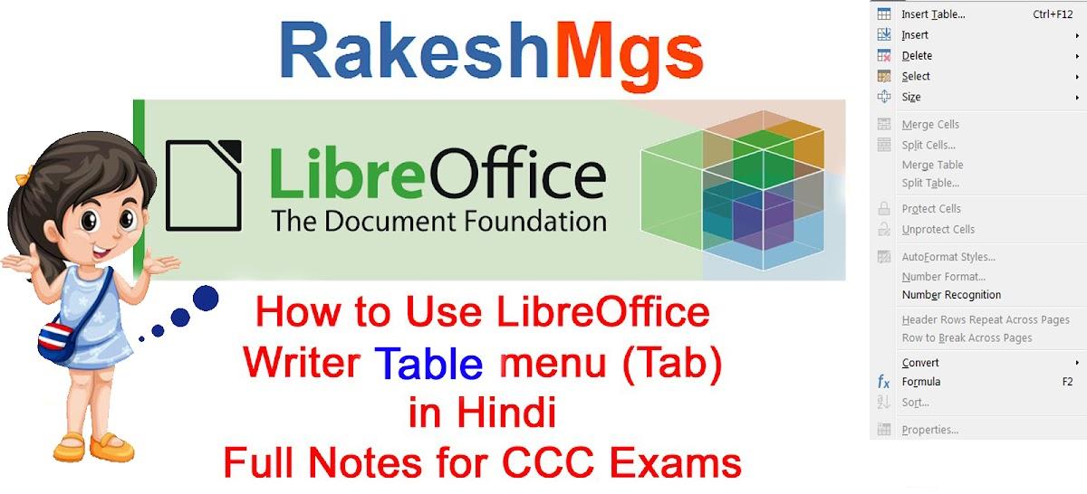 LibreOffice Writer Table menu