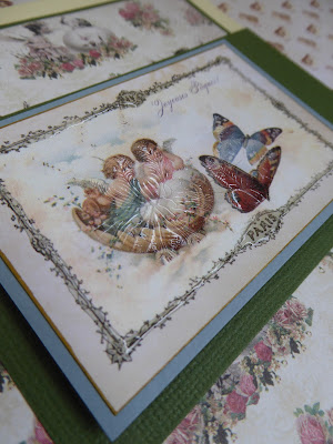 Easter card cherubs and butterflies detail