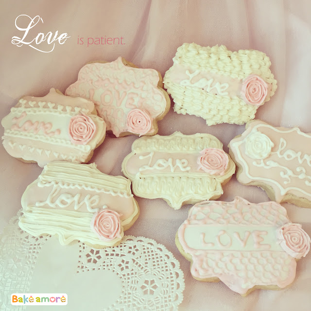 Valentine love cookies in pink and white