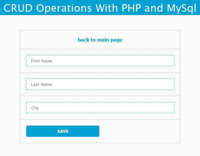 Simple PHP CRUD operation