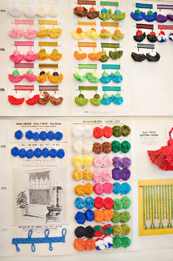 Vintage colourful pom pom trim catalogue cards