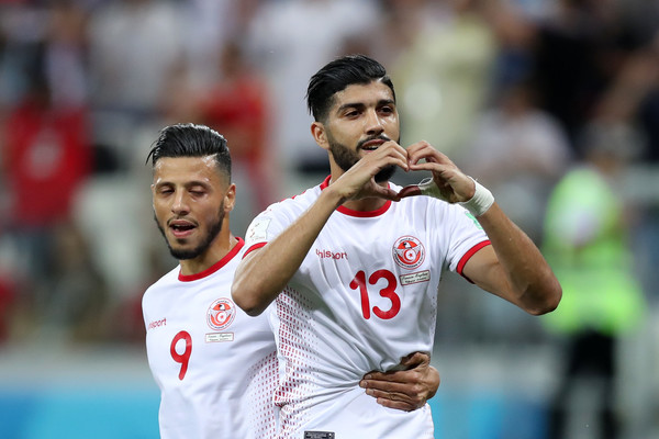 Ferjani Sassi of Tunisia celebrates after scoring his team's first goal during the 2018 FIFA World Cup Russia group G match between Tunisia and England at Volgograd Arena on June 18, 2018 in Volgograd, Russia.