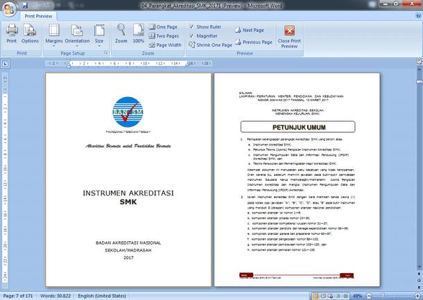 Instrumen dan Perangkat Akreditasi SMK 2017 Format Microsoft Word