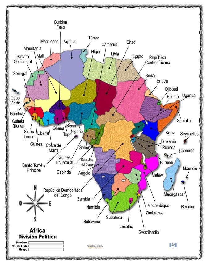 Atlas - Mapa Del Continente Africano Con Sus Paises